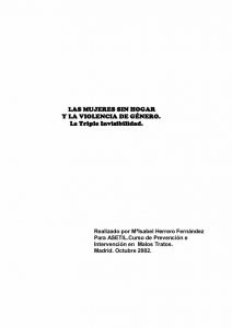 MUJERES SIN HOGAR Y LA VIOLENCIA DE GÉNERO