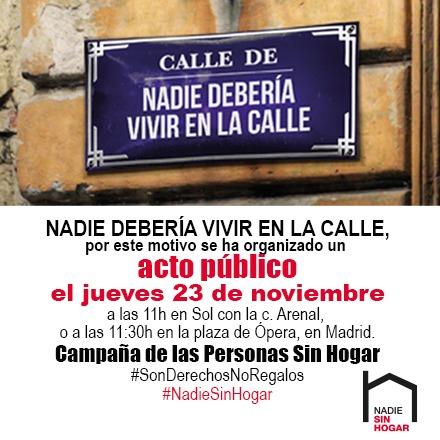 23 de noviembre movilización por el día de las personas sin hogar