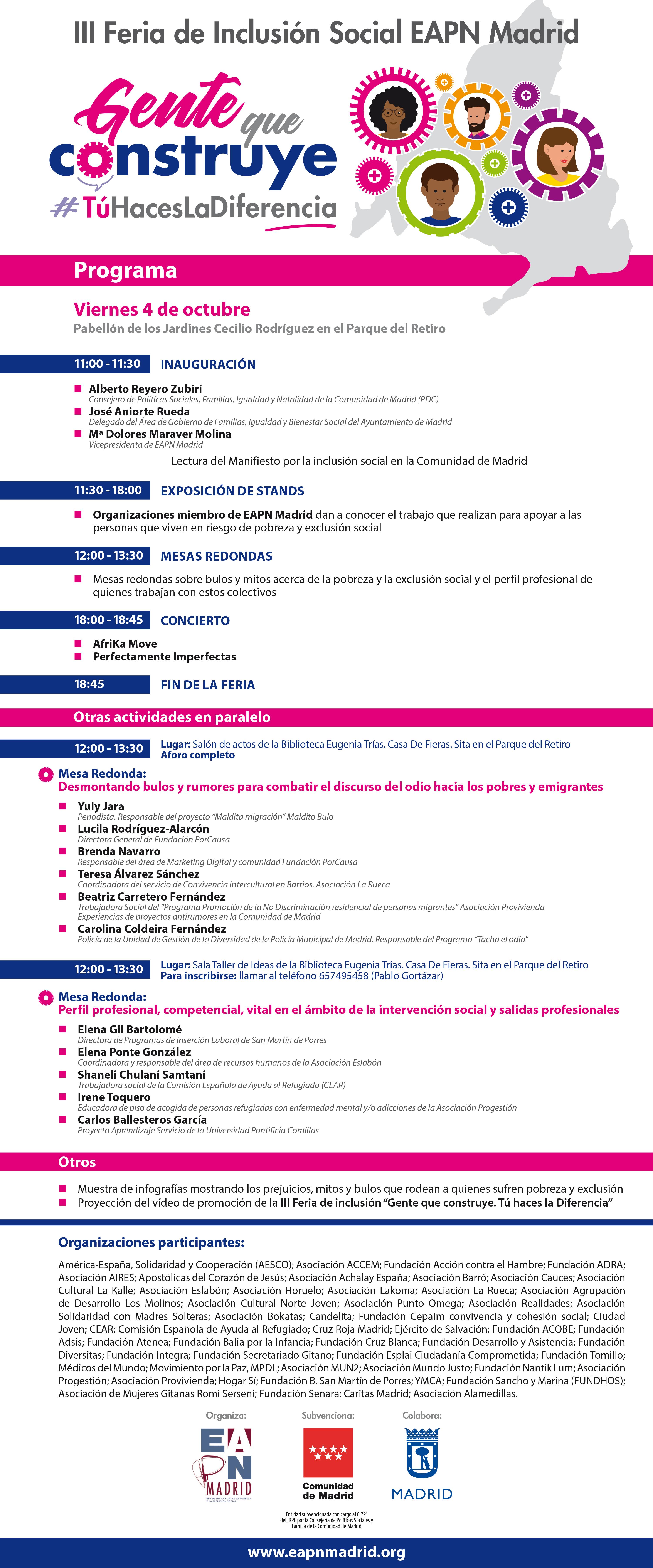 Programa de la III Feria de Inclusión social de EAPN Madrid